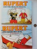 2 childrens books Rupert and the Secret Boat, Dragon Sweets Rupert the Bear 1989